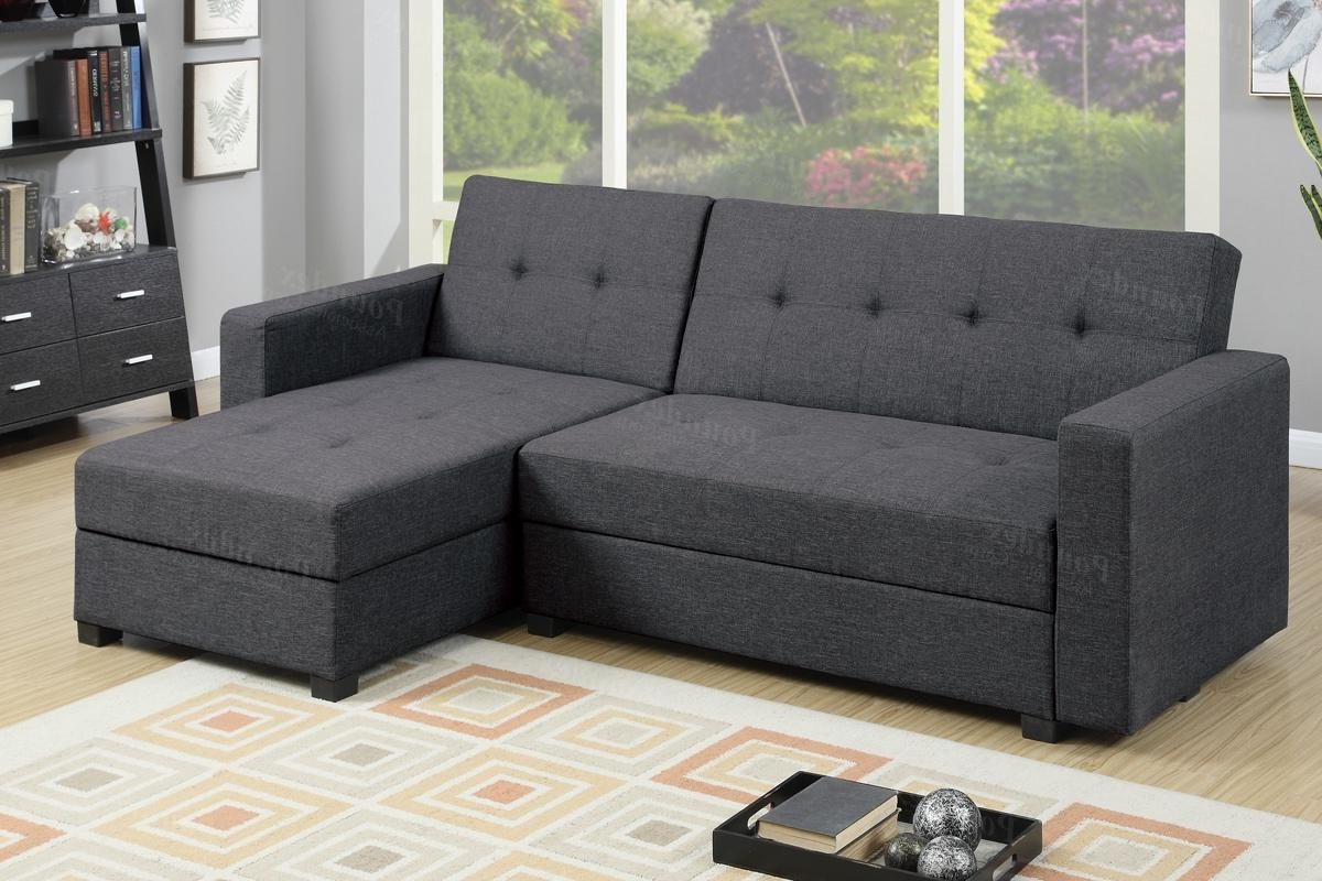 Grey Fabric Sectional Sofa Bed – Steal A Sofa Furniture Outlet Los Regarding Popular Adjustable Sectional Sofas With Queen Bed (View 7 of 15)
