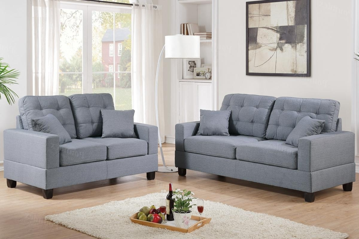 Grey Fabric Sofa And Loveseat Set – Steal A Sofa Furniture Outlet Intended For Most Current Fabric Sofas (View 3 of 15)