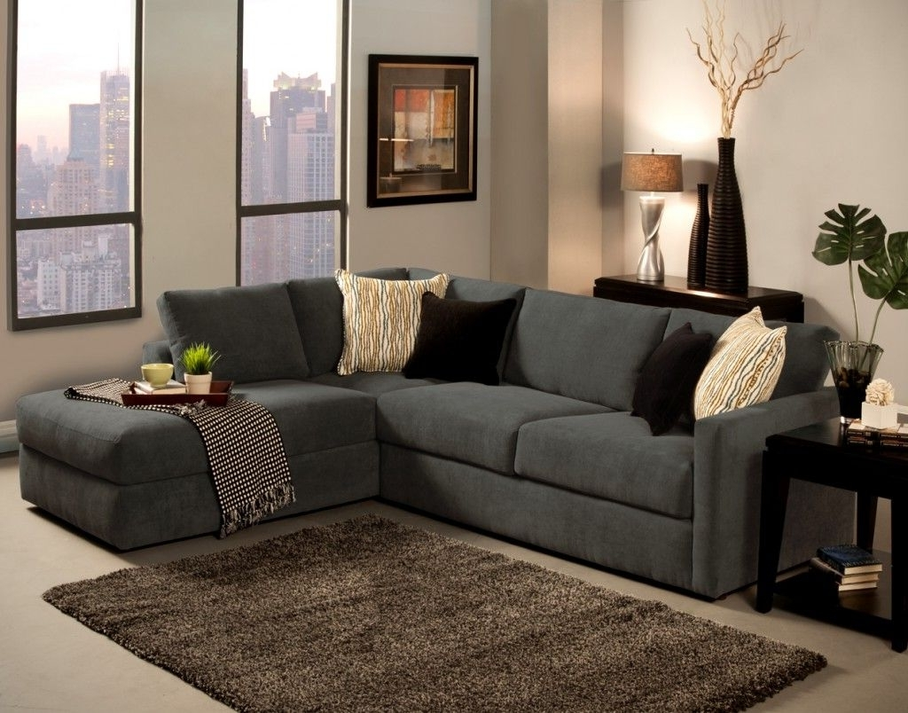 Grey L Shaped Sofa Chaise Lounge Sofa Complete Beige And Black Within Widely Used Small Couches With Chaise Lounge (View 3 of 15)