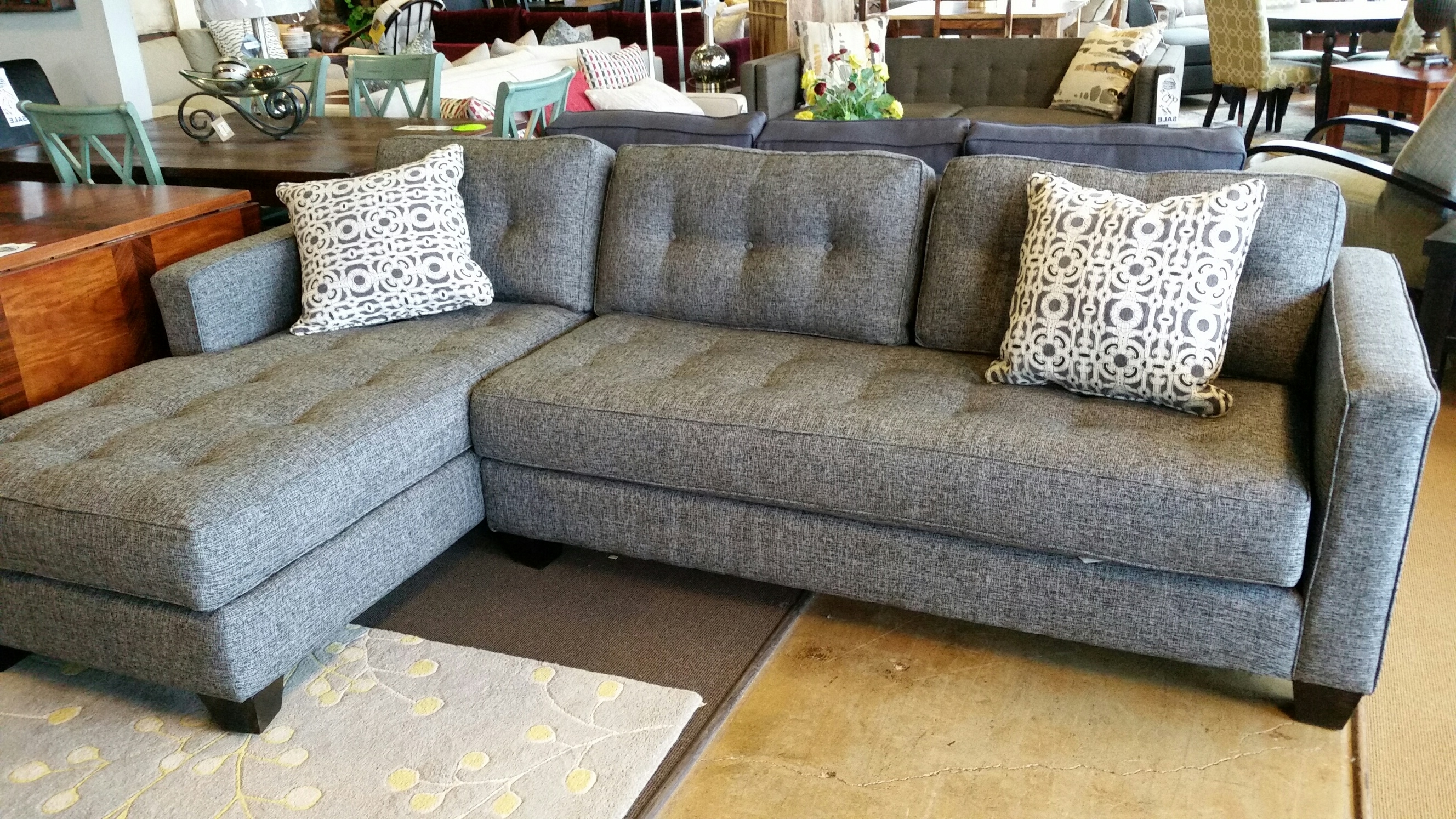 Grey Woven Fabric Inside Dufresne Sectional Sofas (View 8 of 15)