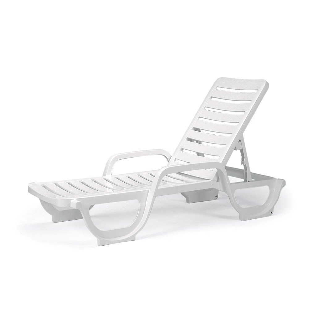 Grosfillex 44031004 – Bahia Stackable Chaise Lounge Chair – White Intended For 2017 Resin Chaise Lounges (View 9 of 15)