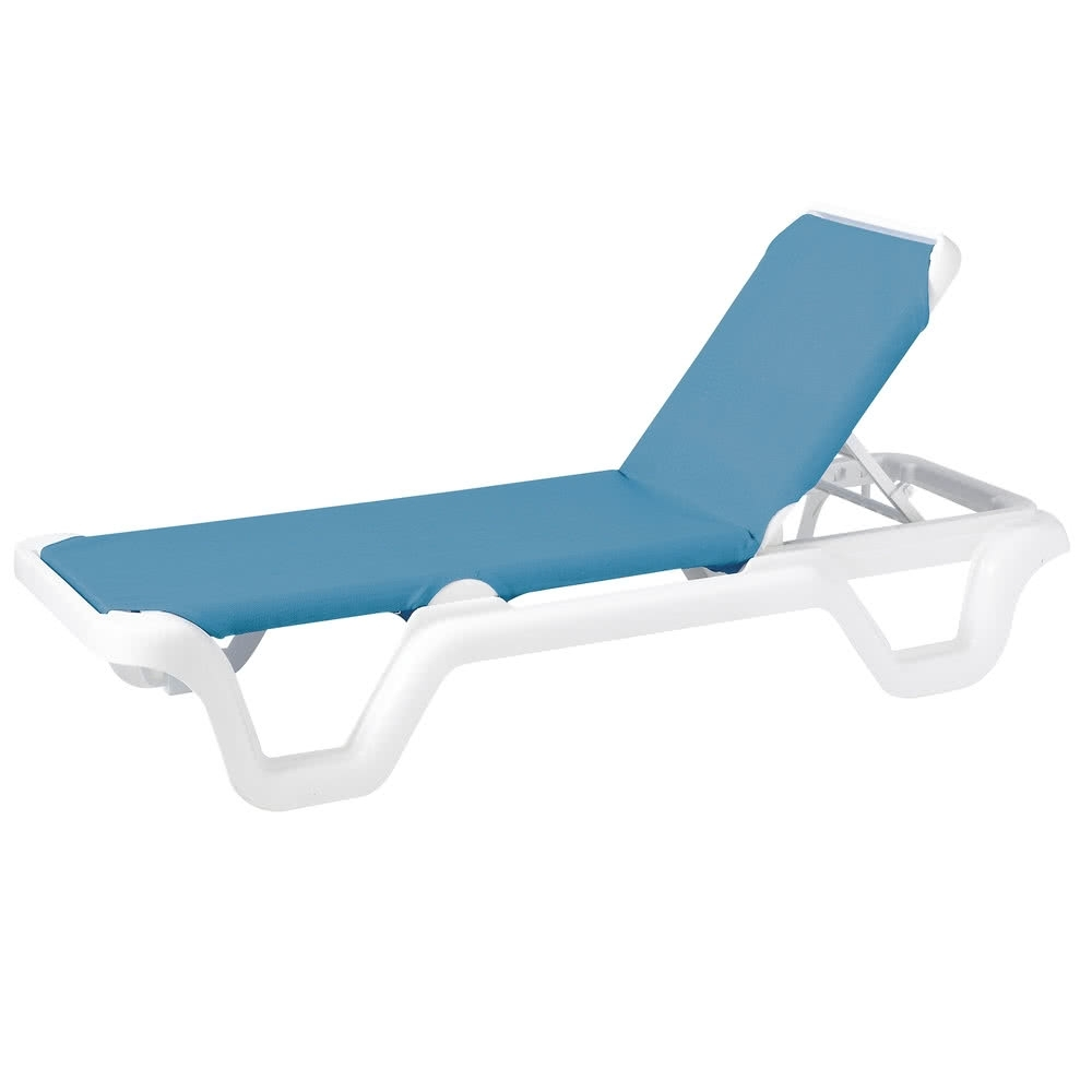 Grosfillex 99404194 / Us404194 Marina White / Sky Blue Adjustable Within Favorite Sling Chaise Lounge Chairs (View 3 of 15)