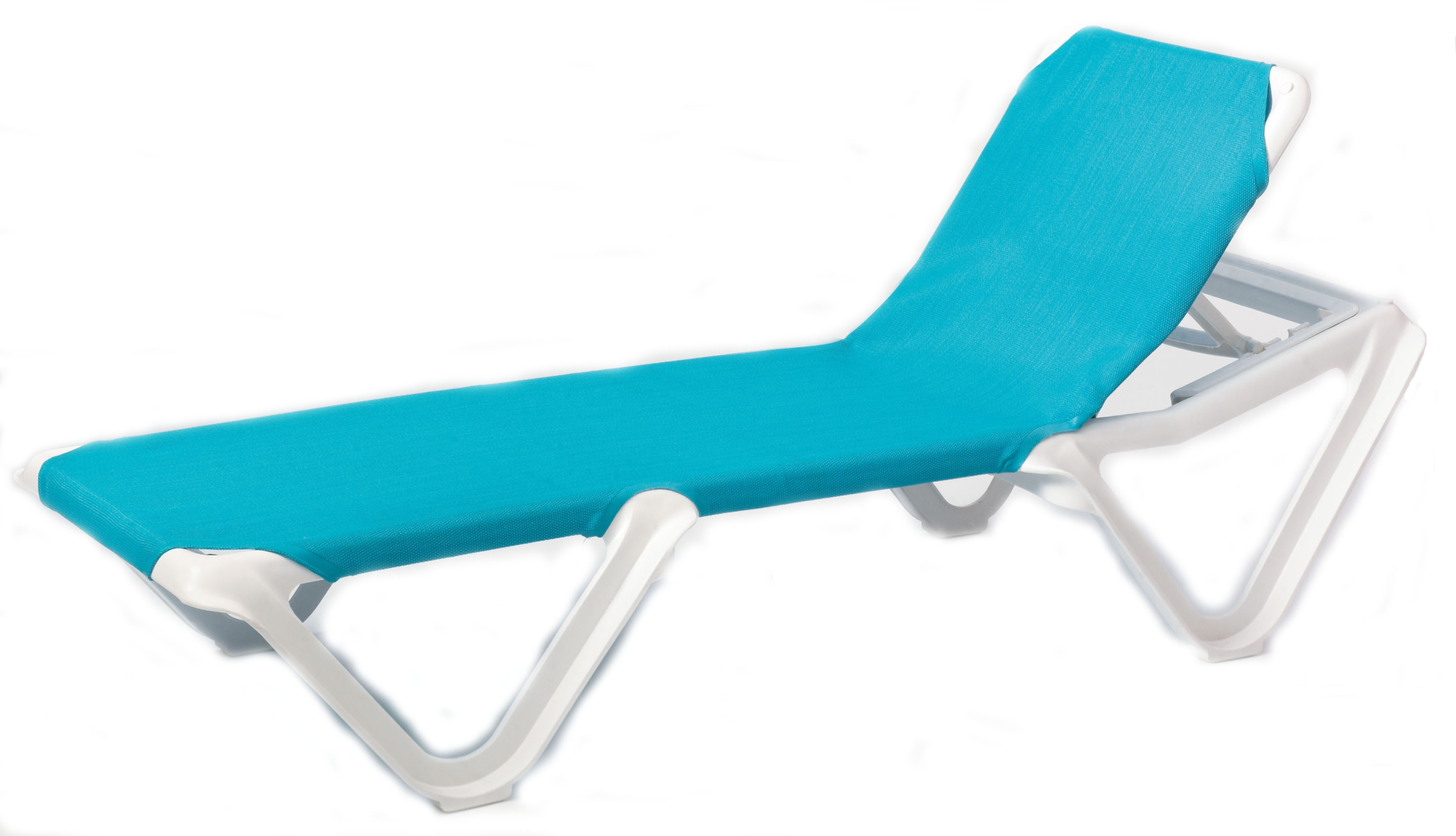 Grosfillex Nautical Adjustable Resin Sling Chaise Lounge Chair W/o Regarding Recent Chaise Lounge Sling Chairs (View 5 of 15)