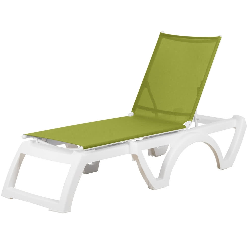 Grosfillex Us476152 / Us746152 Calypso White / Fern Green Stacking Inside Latest Green Chaises (View 7 of 15)