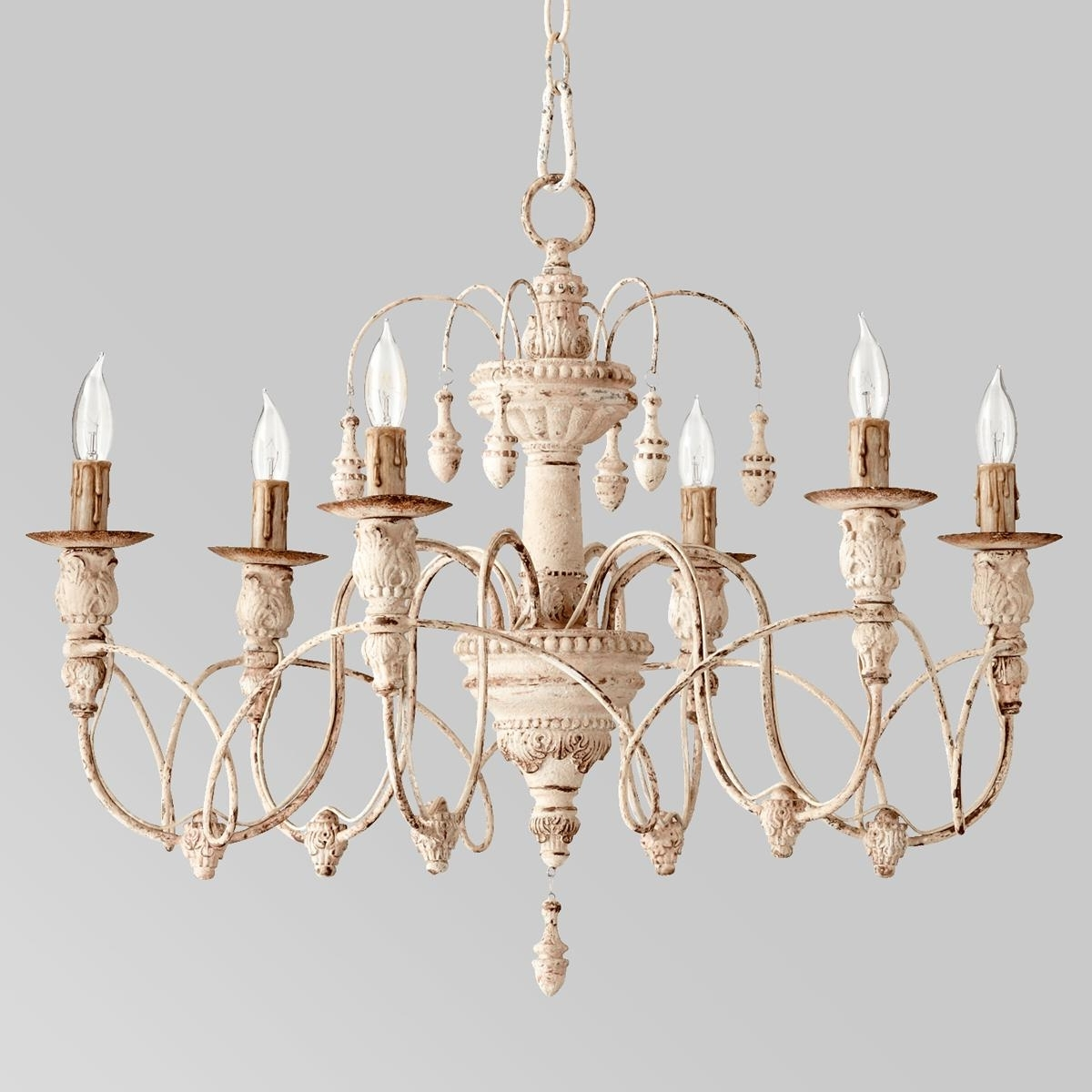 Gustavian Style White Chandelier (View 8 of 15)