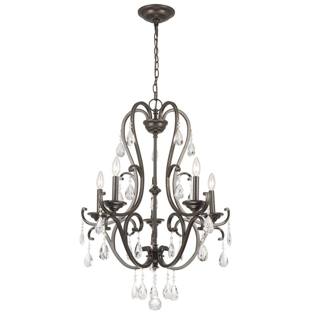 Hampton Bay 5 Light Oil Rubbed Bronze Chandelier With Hanging Inside Fashionable Bronze And Crystal Chandeliers (View 10 of 15)