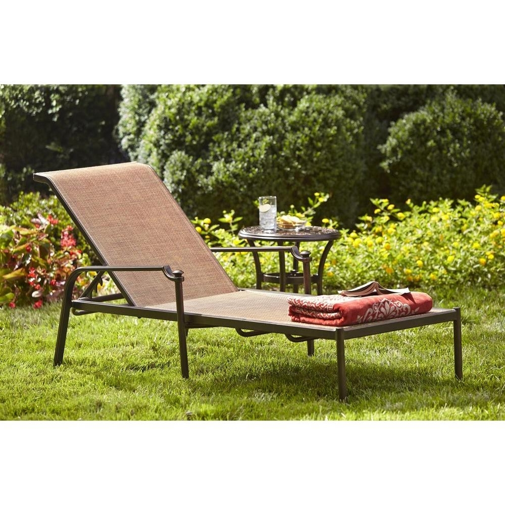 Hampton Bay Chaise Lounges With Newest Hampton Bay Niles Park Sling Patio Chaise Lounge Adh04302K01 – The (View 4 of 15)