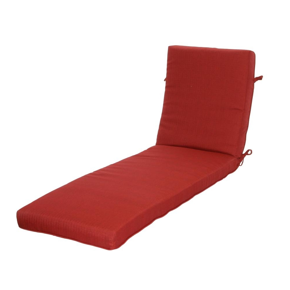 Hampton Bay Chili Texture Outdoor Chaise Lounge Cushion 7417 Within Famous Cheap Chaise Lounge Cushions (View 9 of 15)