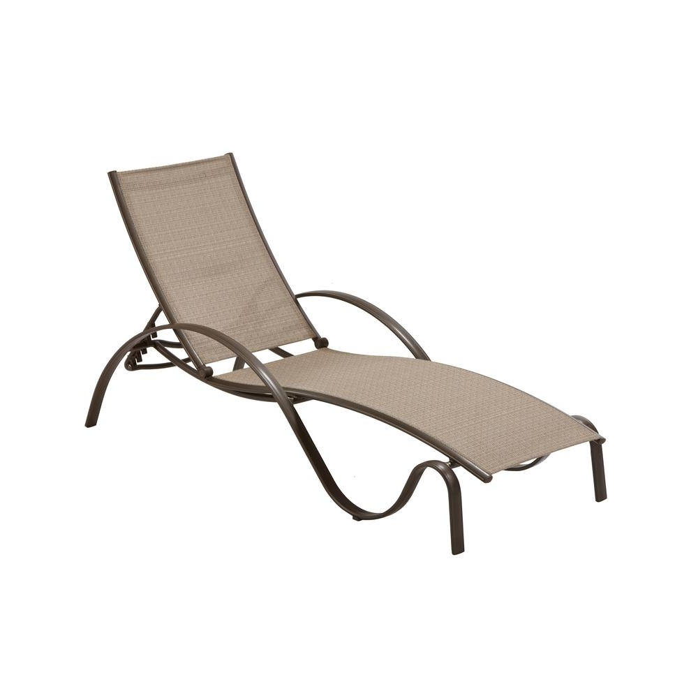 Hampton Bay Commercial Grade Aluminum Brown Outdoor Chaise Lounge Within Newest Aluminum Chaise Lounge Chairs (View 11 of 15)