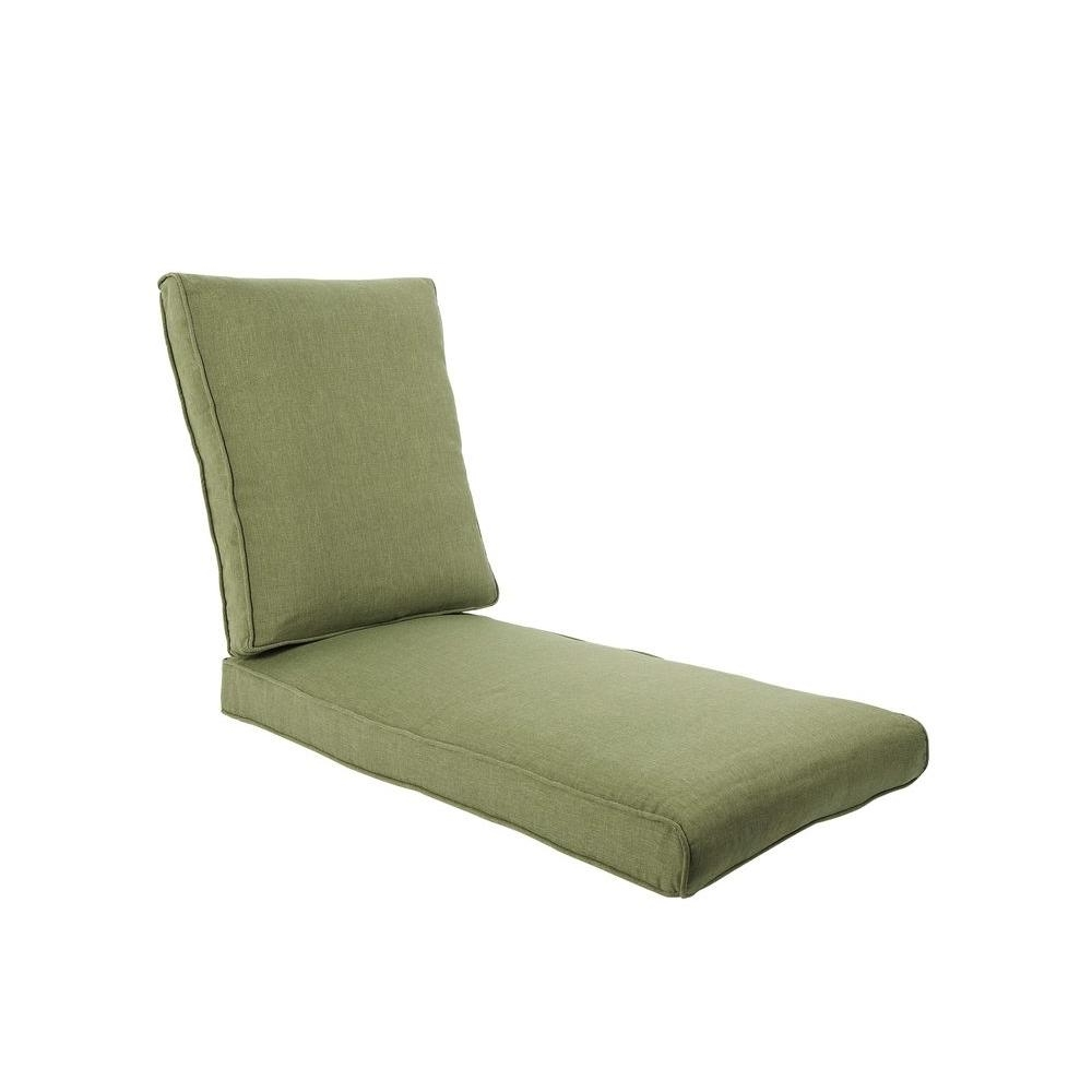 Hampton Bay Pembrey Replacement Outdoor Chaise Lounge Cushion With Most Recent Outdoor Cushions For Chaise Lounge Chairs (View 9 of 15)