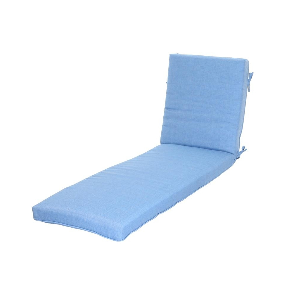 Hampton Bay Periwinkle Outdoor Chaise Lounge Cushion 7417 02241311 Regarding Most Recent Outdoor Chaise Lounge Cushions (View 6 of 15)