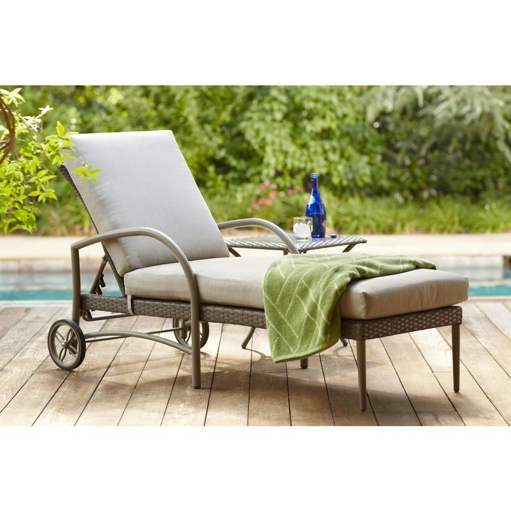 Hampton Bay Posada Patio Chaise Lounge With Gray Cushion 153 120 Intended For Preferred Chaise Lounges For Outdoor Patio (View 11 of 15)