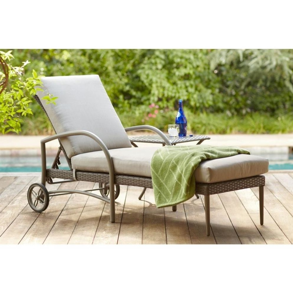 Hampton Bay Posada Patio Chaise Lounge With Gray Cushion In Famous Patio Chaise Lounge Cushions (View 4 of 15)