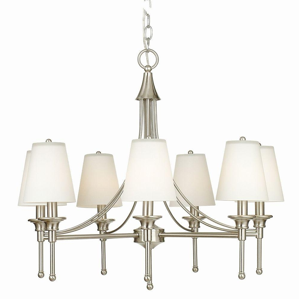 Hampton Bay Sadie 7 Light Satin Nickel Chandelier With White Glass For Best And Newest 7 Light Chandeliers (View 4 of 15)