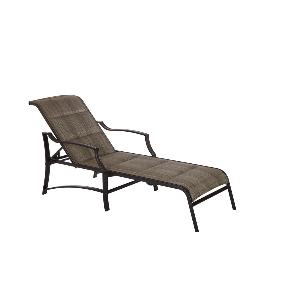 Hampton Bay Statesville Shell Aluminum Outdoor Chaise Lounge Pertaining To Favorite Chaise Lounge Lawn Chairs (View 12 of 15)