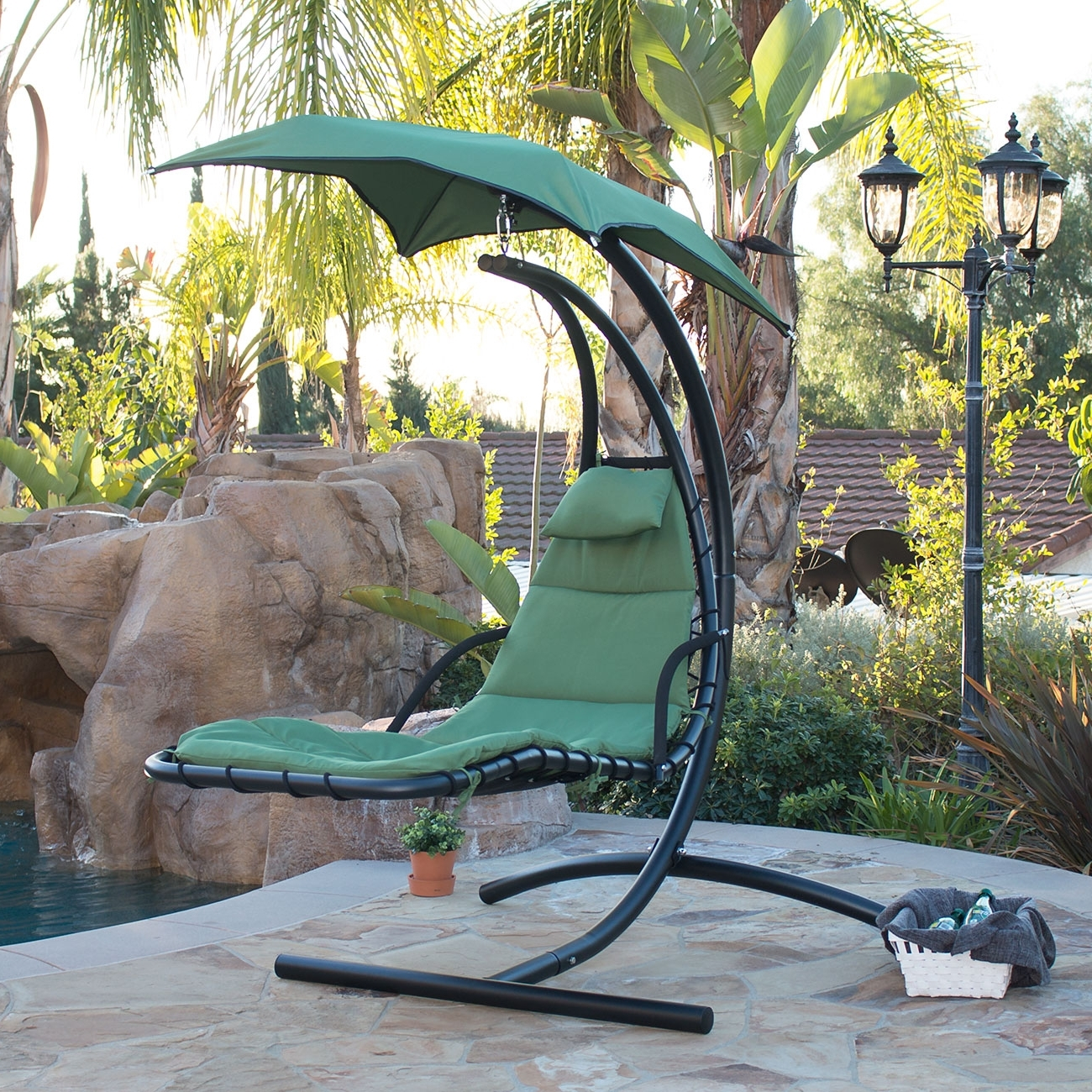 Hanging Chaise Lounge Chair Hammock Swing Canopy Glider Outdoor For 2017 Chaise Lounge Swing Chairs (View 6 of 15)