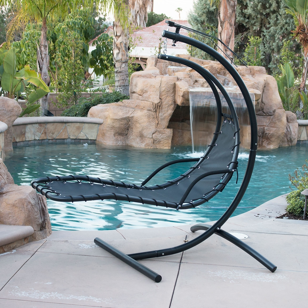 Hanging Chaise Lounge Chair Hammock Swing Canopy Glider Outdoor In Most Up To Date Chaise Lounge Chairs For Sunroom (View 6 of 15)