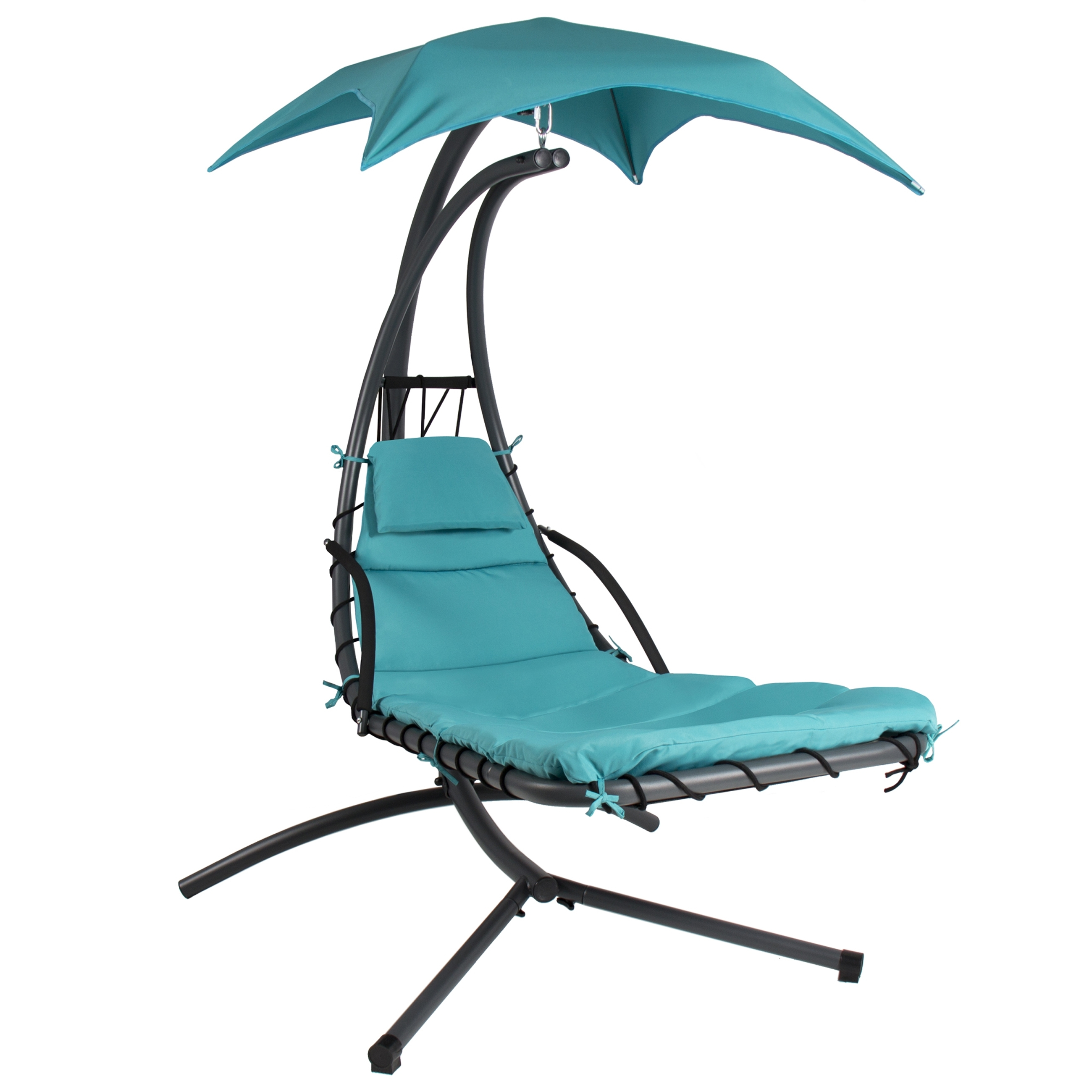 Hanging Chaise Lounger Chair Arc Stand Air Porch Swing Hammock Pertaining To 2018 Chaise Lounge Swing Chairs (View 8 of 15)