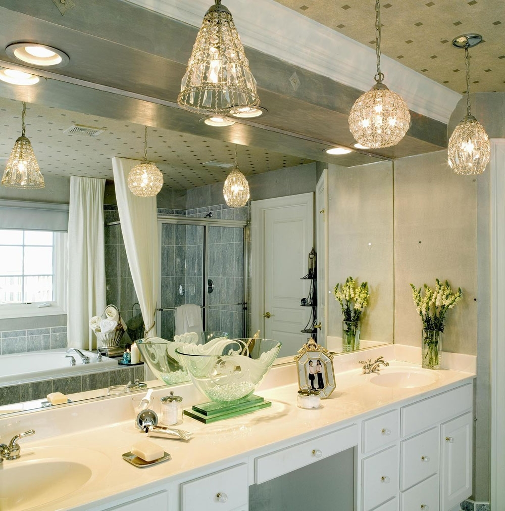 Hanging White Bathroom Light Fixtures : Cozy White Bathroom Light Intended For Well Known Chandelier Bathroom Vanity Lighting (View 1 of 15)