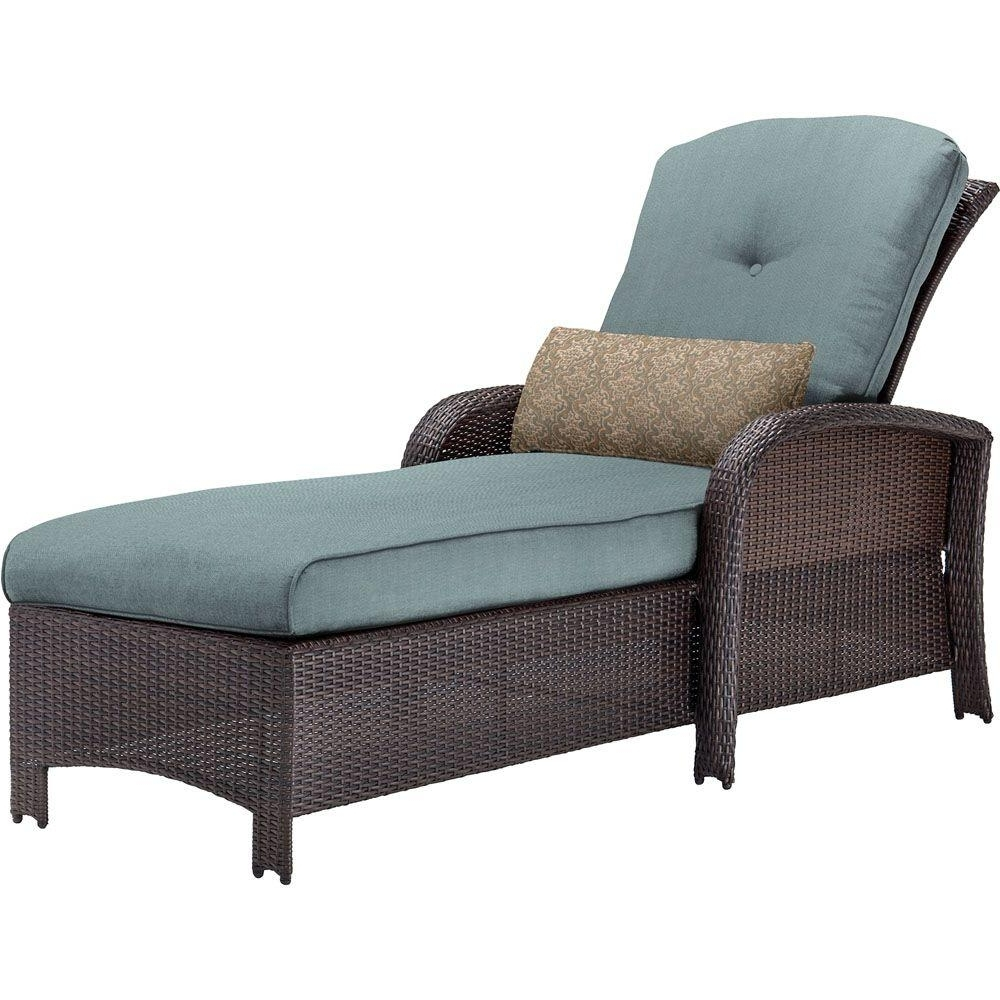 Hanover Strathmere All Weather Wicker Outdoor Patio Chaise Lounge Inside Favorite Chaise Lounge Chair Outdoor Cushions (View 7 of 15)