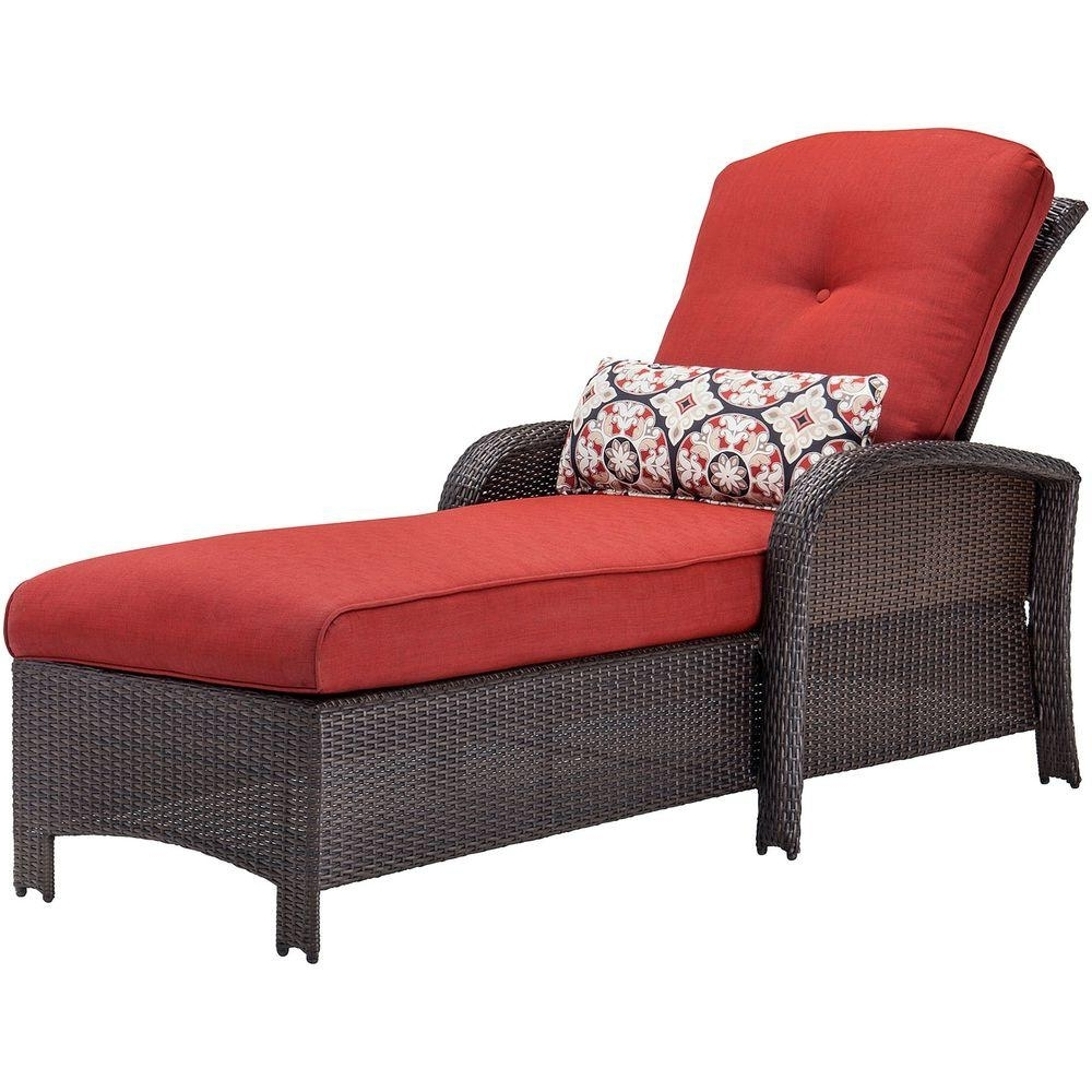 Hanover Strathmere All Weather Wicker Patio Chaise Lounge Chair With Recent Comfortable Outdoor Chaise Lounge Chairs (View 7 of 15)