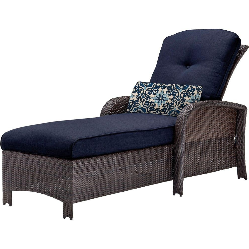 Hanover Strathmere All Weather Wicker Patio Chaise Lounge With For 2018 Chaise Lounge Chairs For Sunroom (View 8 of 15)
