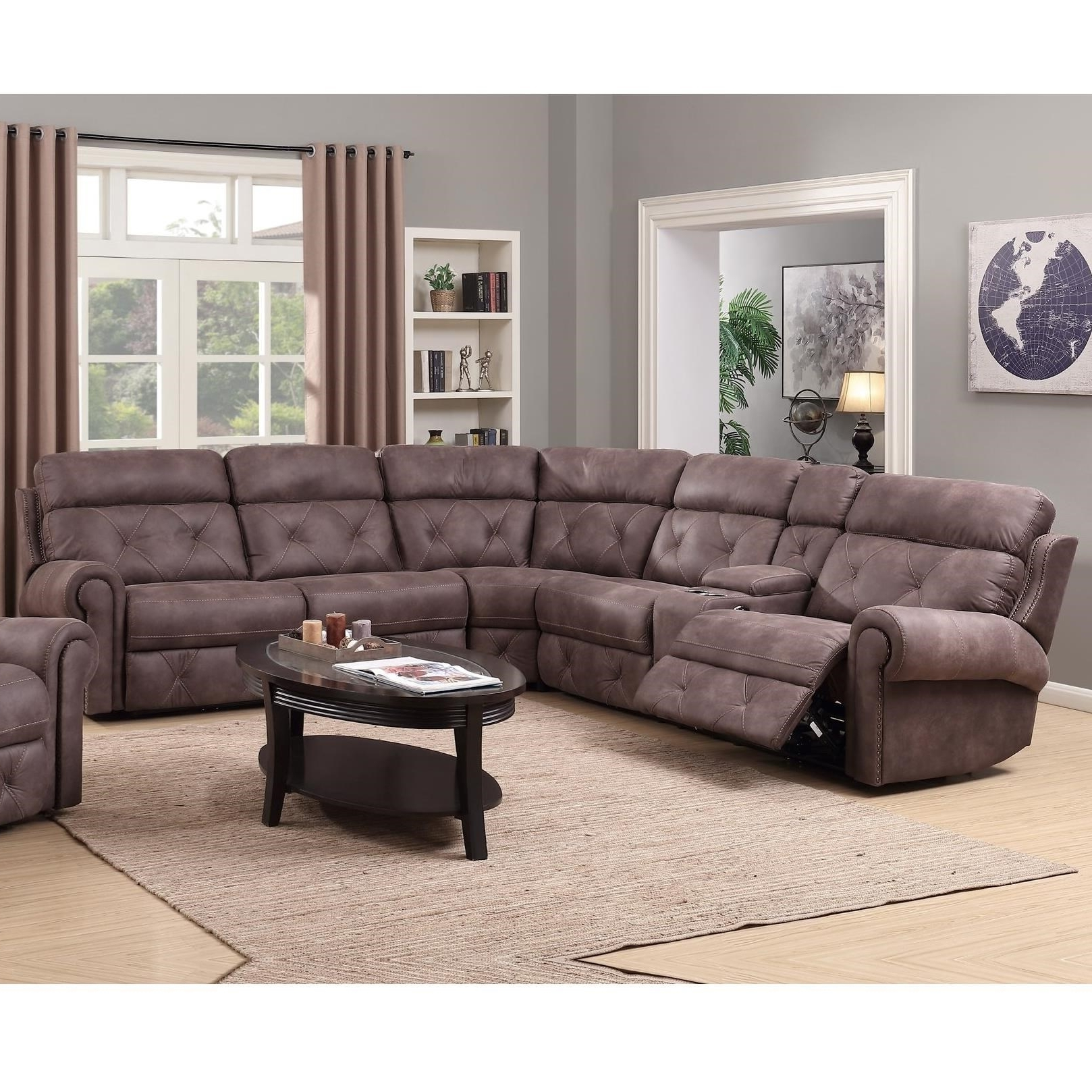 Happy Leather Company 1378 Power Reclining Sectional With Console For Widely Used Sectional Sofas At Birmingham Al (View 9 of 15)