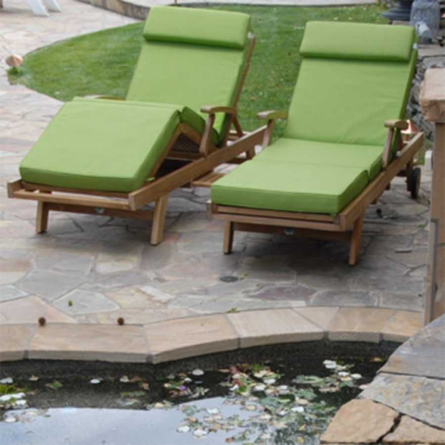 Hardwood Chaise Lounge Chairs Pertaining To Preferred Sunbrella Chaise Lounge Cushion (View 11 of 15)