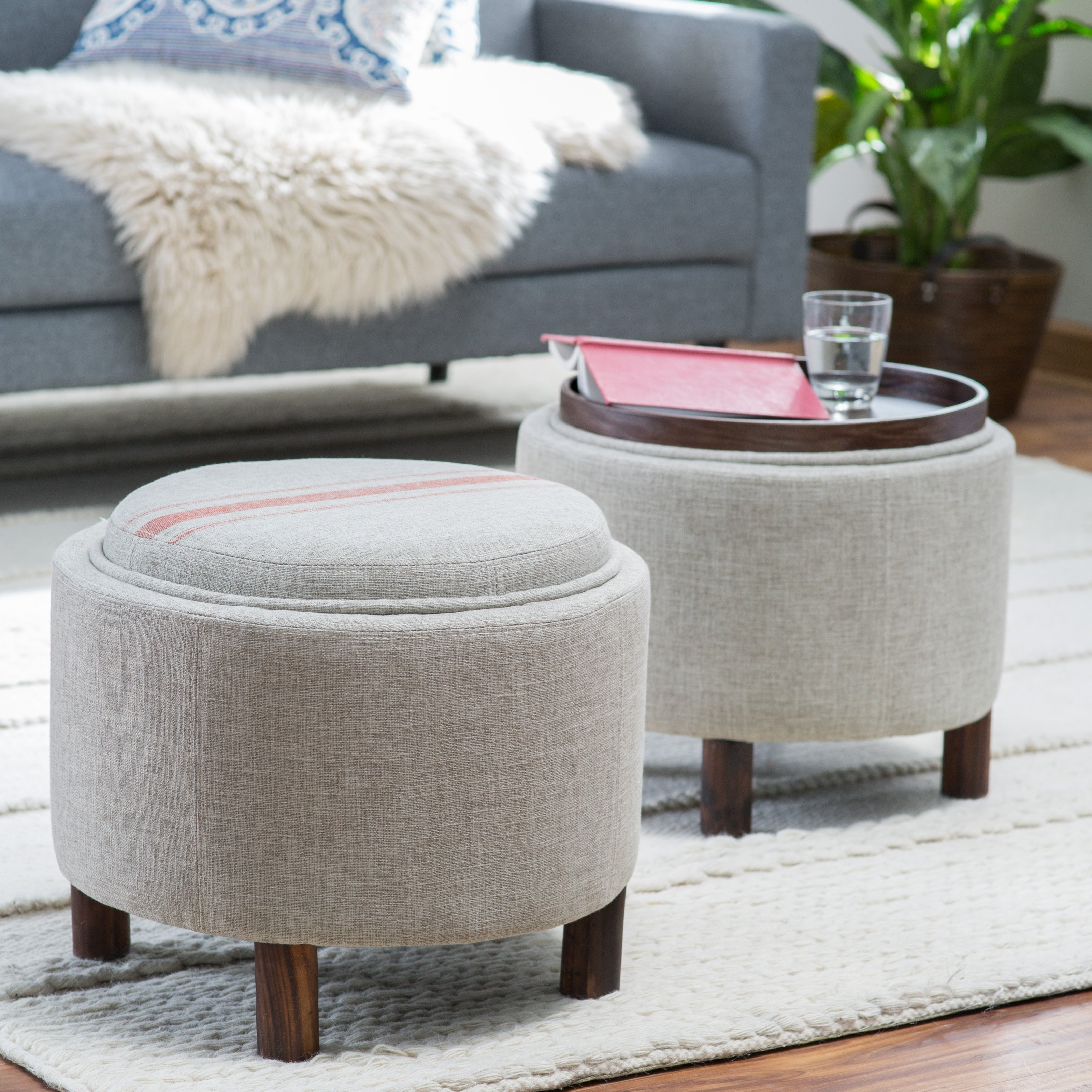 Hartley Coffee Table Storage Ottoman With Tray – Side Ottomans Inside Recent Ottomans With Tray (View 7 of 15)