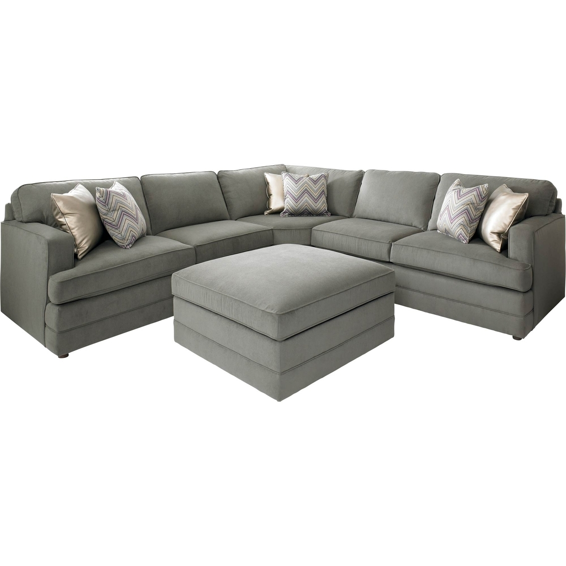 High Point Nc Sectional Sofas Throughout Well Known Bassett Dalton L Shaped Sectional Sofa With Ottoman (View 7 of 15)