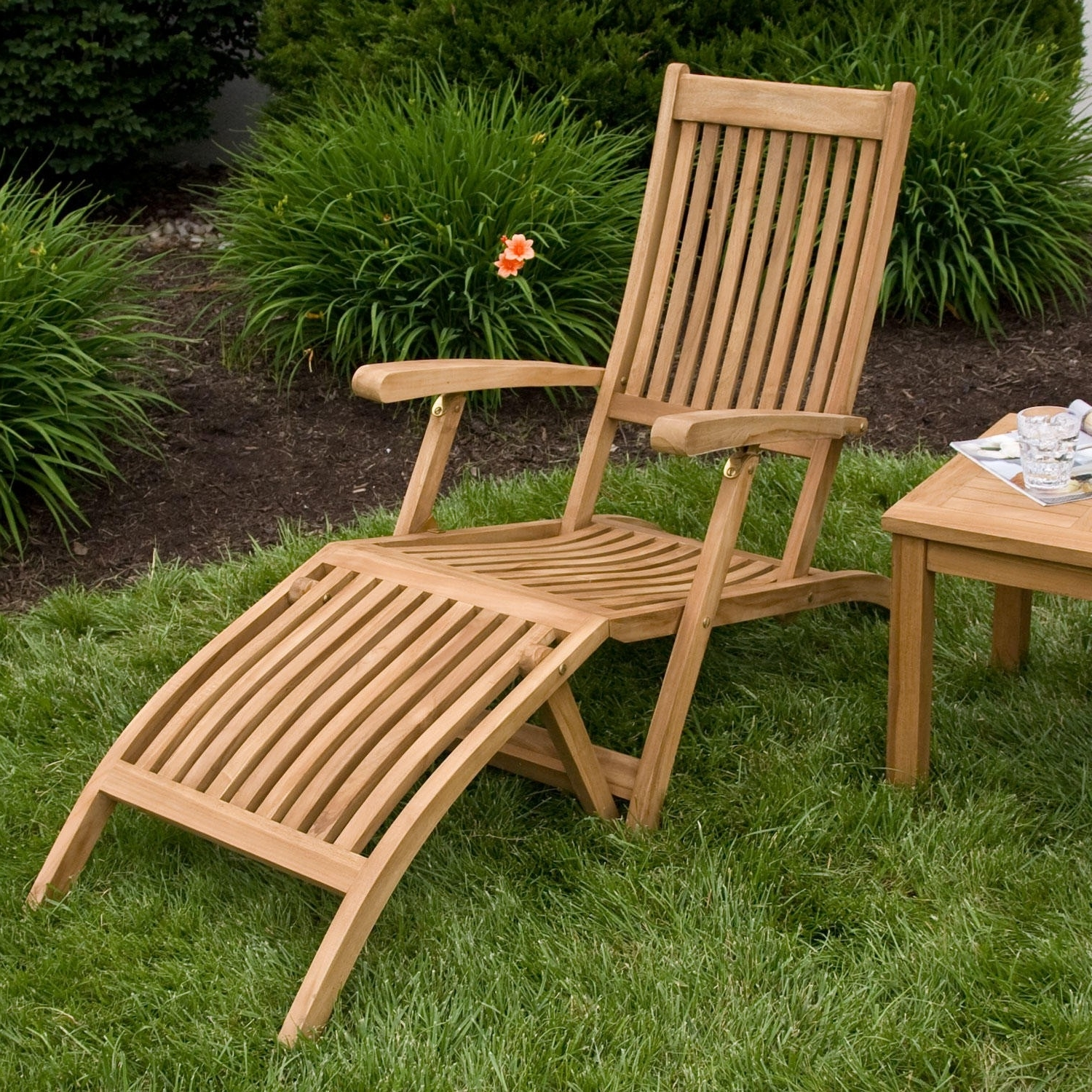 Holley Teak Outdoor Folding Steamer Lounge Chair – Outdoor Regarding Newest Folding Chaise Lounge Chairs For Outdoor (View 8 of 15)