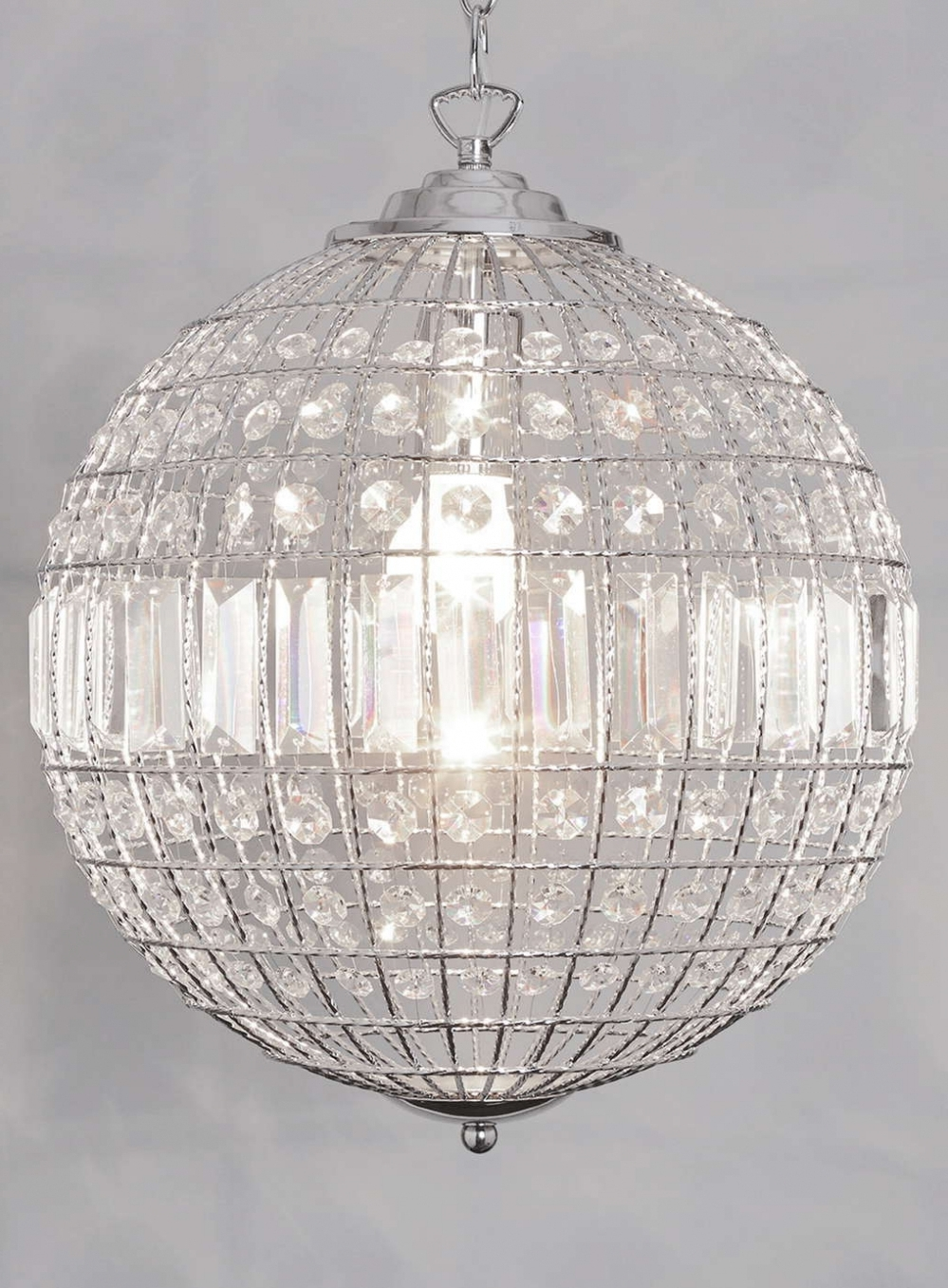 Home Decor: Chandeliers Design : Wonderful Crystal Globe Chandelier In Current Crystal Globe Chandelier (View 7 of 15)