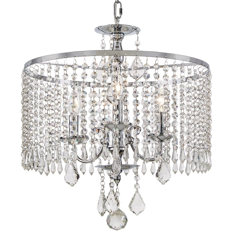 Home Decorators Collection 3 Light Polished Chrome Chandelier With For Most Recent Crystal Chrome Chandelier (View 8 of 15)