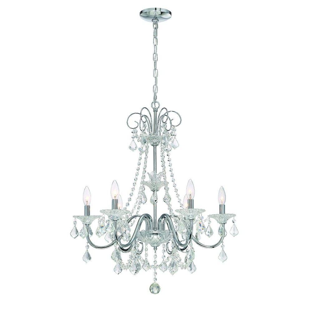 Home Decorators Collection 6 Light Chrome Crystal Chandelier 29360 Throughout Preferred Chrome Crystal Chandelier (View 4 of 15)