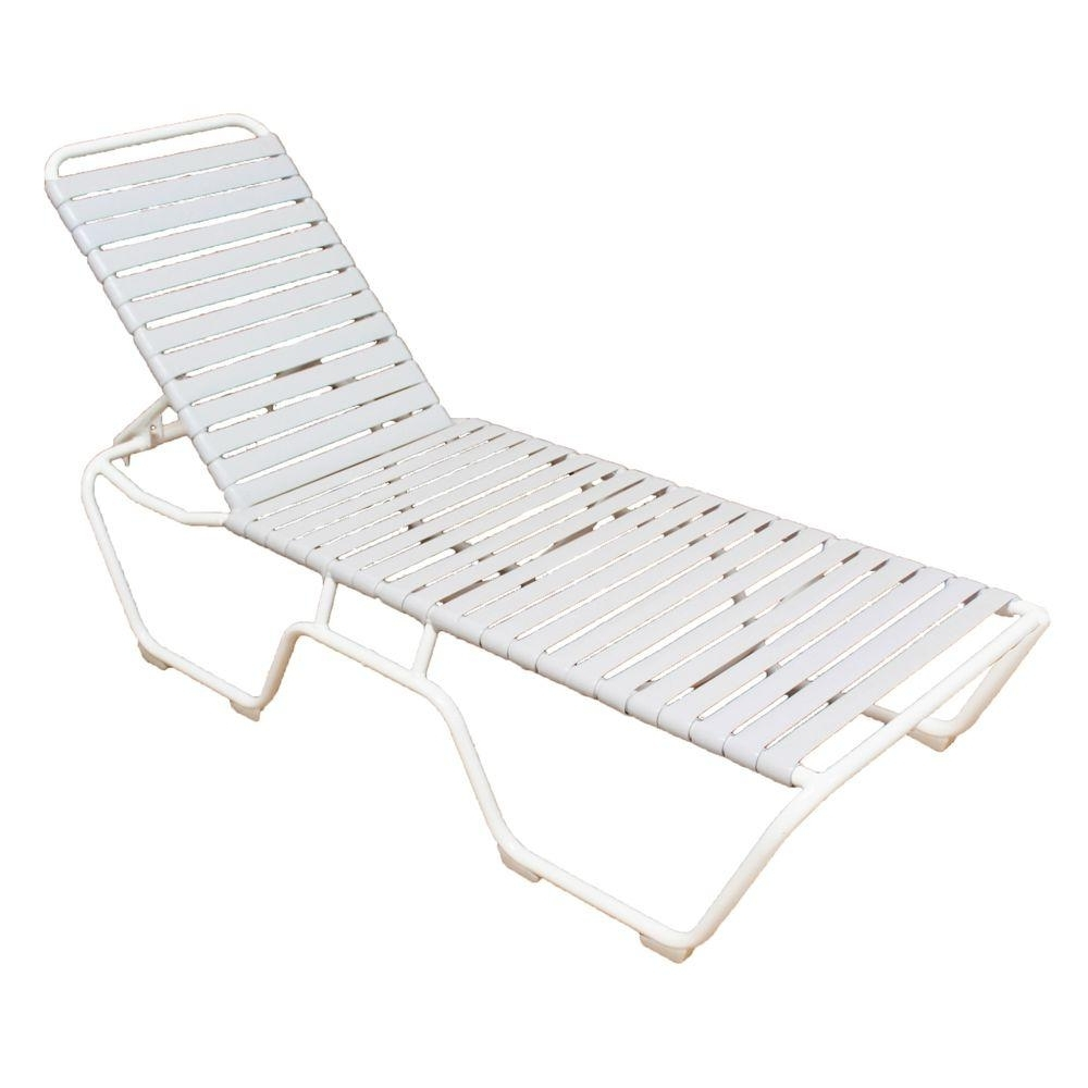 Home Depot Chaise Lounges Throughout Famous Marco Island White Commercial Grade Aluminum Vinyl Strap Outdoor (View 8 of 15)