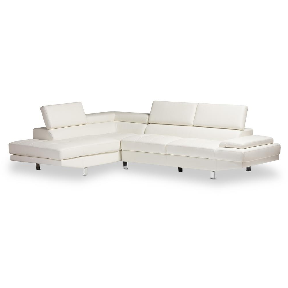 Home Depot Sectional Sofas Intended For 2018 Baxton Studio Selma 2 Piece Modern White Faux Leather Upholstered (View 11 of 15)