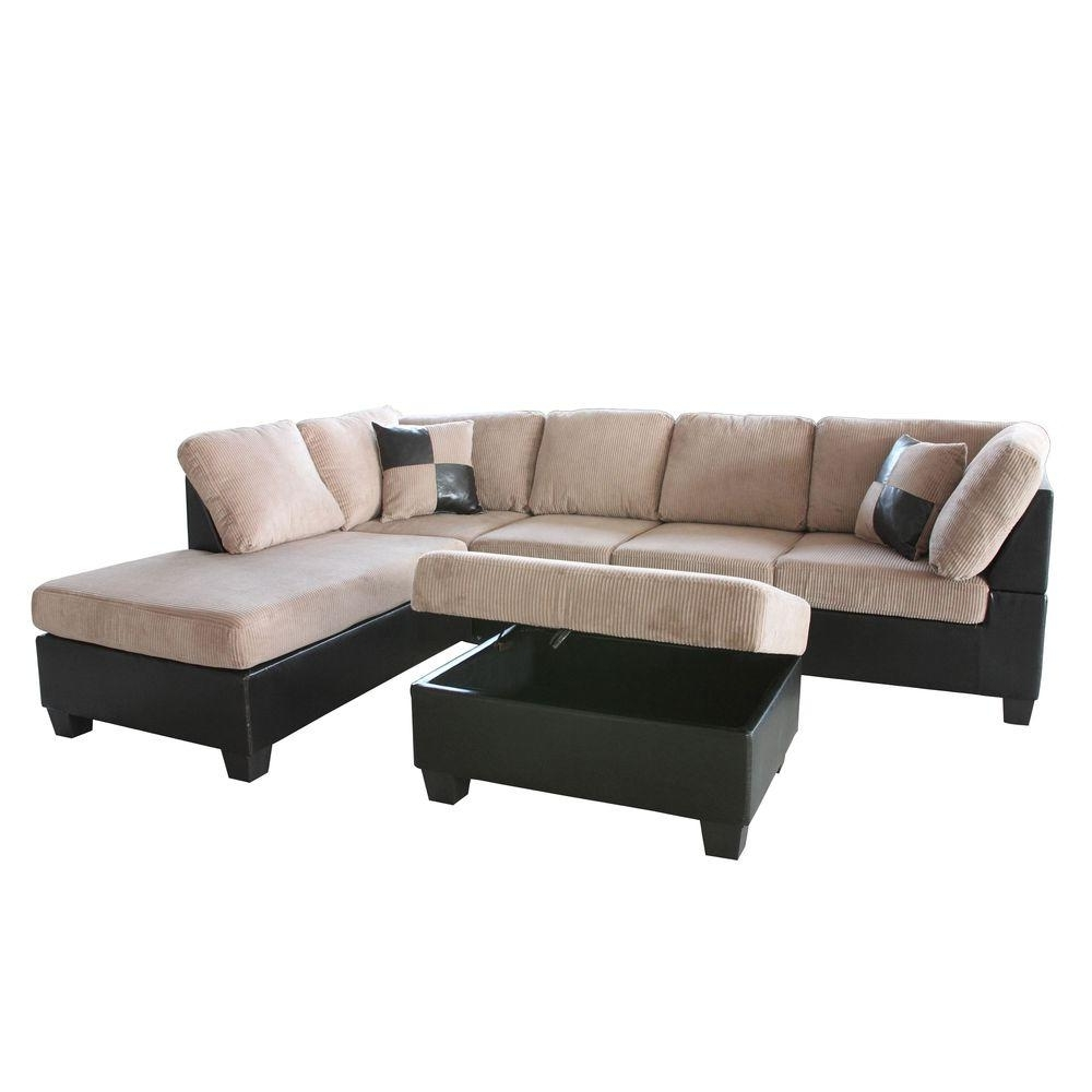Home Depot Sectional Sofas Regarding Well Liked Venetian Worldwide Taylor 2 Piece Saddle Brown Corduroy Sectional (View 3 of 15)