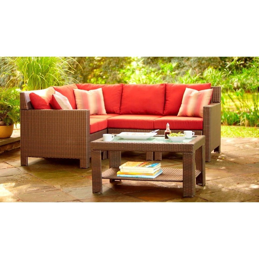 Home Depot Sectional Sofas With Regard To Recent Hampton Bay Beverly 5 Piece Patio Sectional Seating Set With (View 7 of 15)