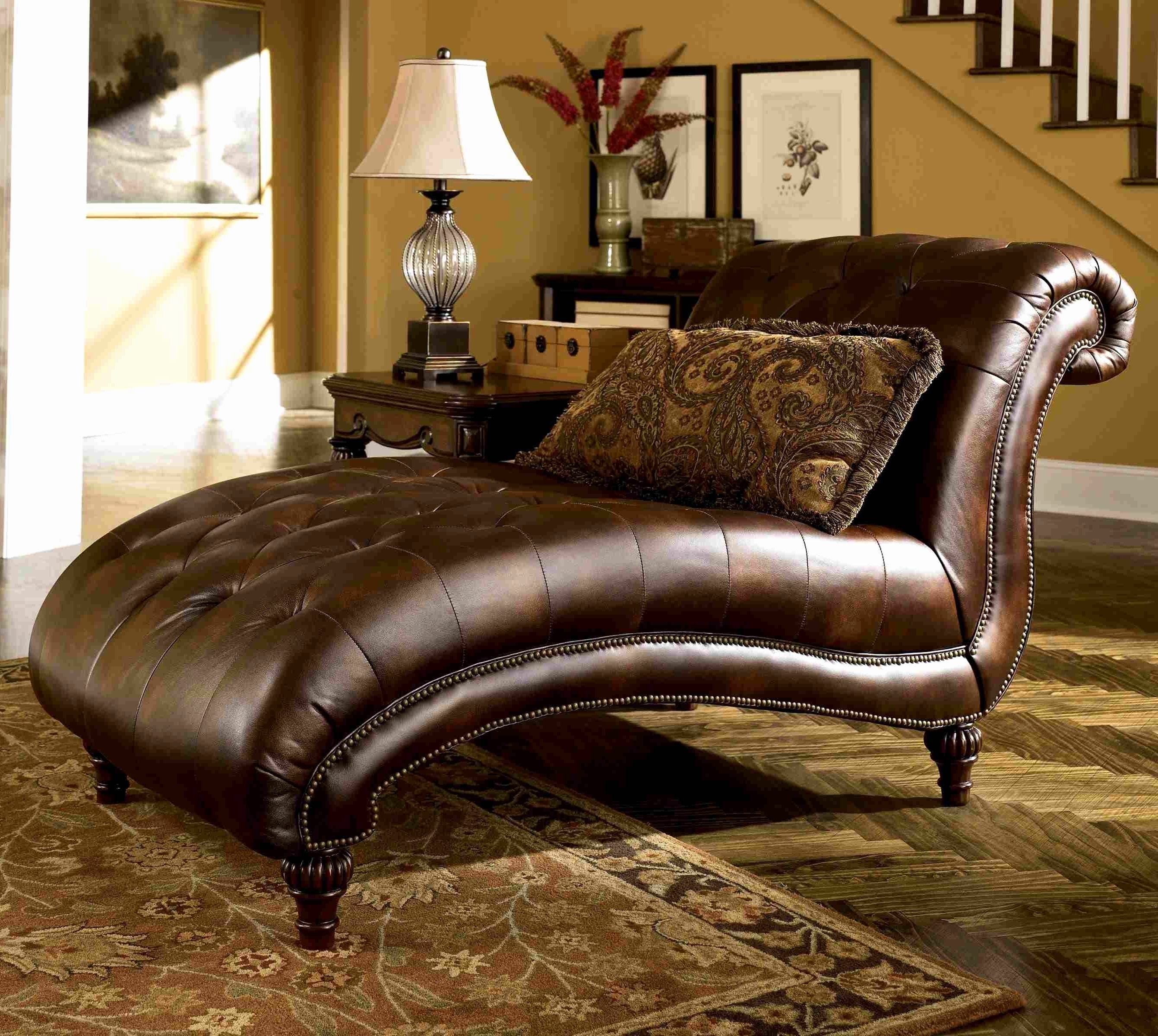 Home Designs : Living Room Chaise Lounge Chairs Overstuffed Living Throughout Newest Brown Leather Chaise Lounges (View 4 of 15)