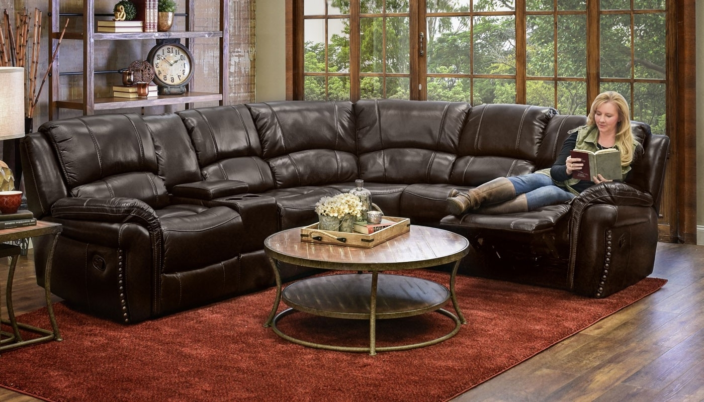 Home Zone Sectional Sofas Intended For Preferred Milton Chocolate Reclining Sectional – Home Zone Furniture (View 3 of 15)