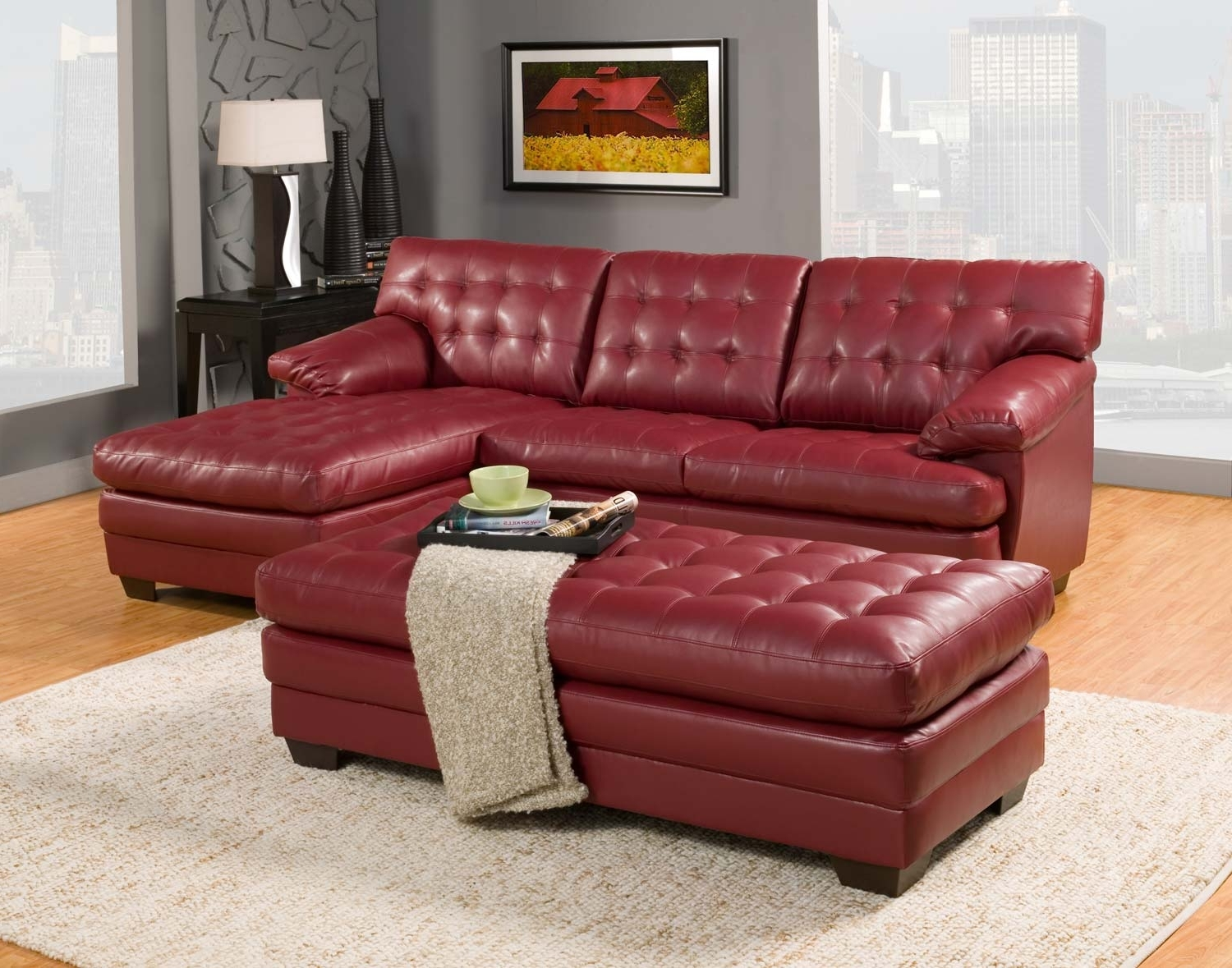 Homelegance Brooks Sectional Sofa Set – Red – Bonded Leather Inside Newest Red Leather Sectional Sofas With Ottoman (View 3 of 15)