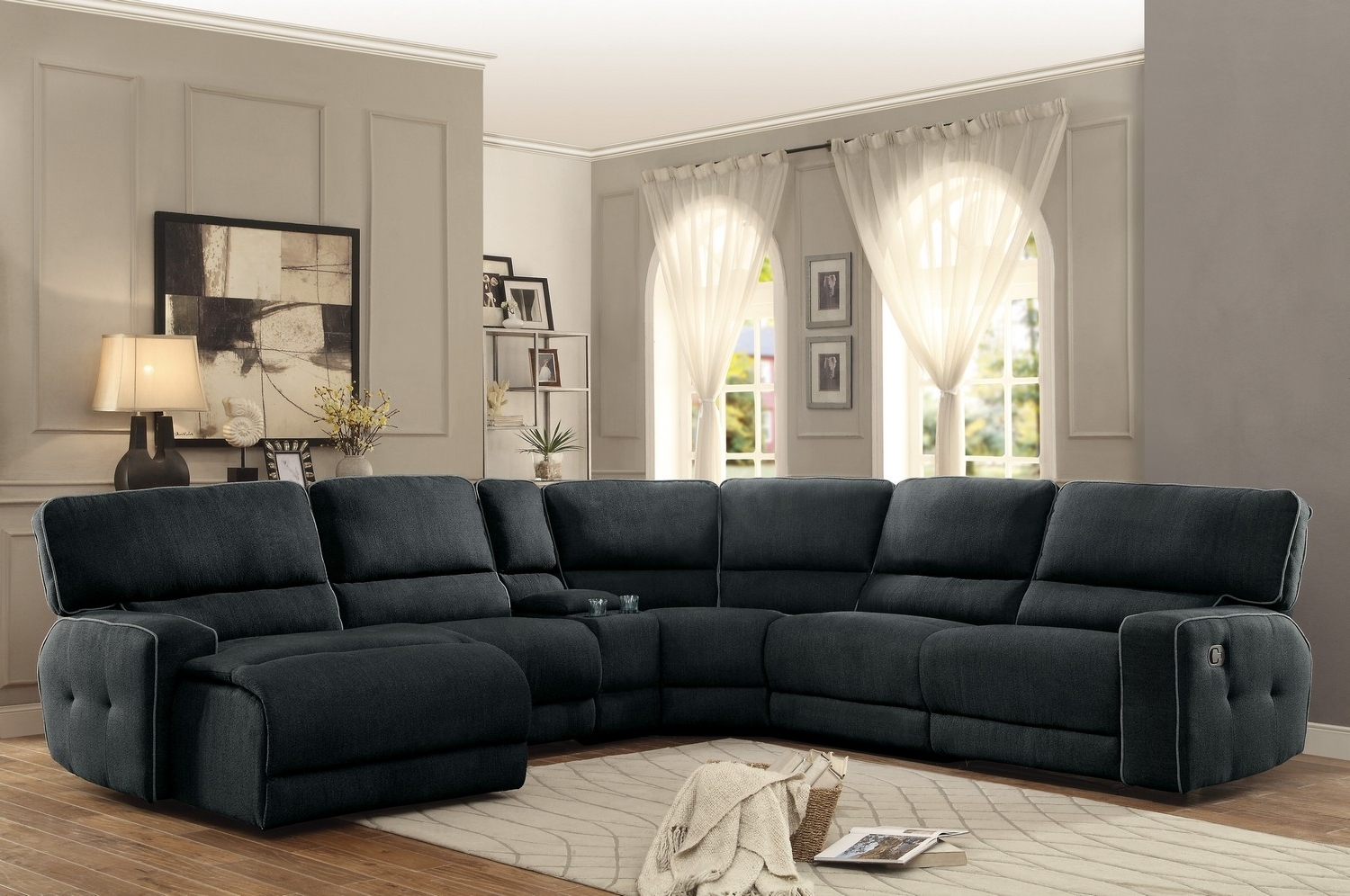 Homelegance Keamey Reclining Sectional Sofa Set A – Polyester With 2017 Couches With Chaise And Recliner (View 8 of 15)