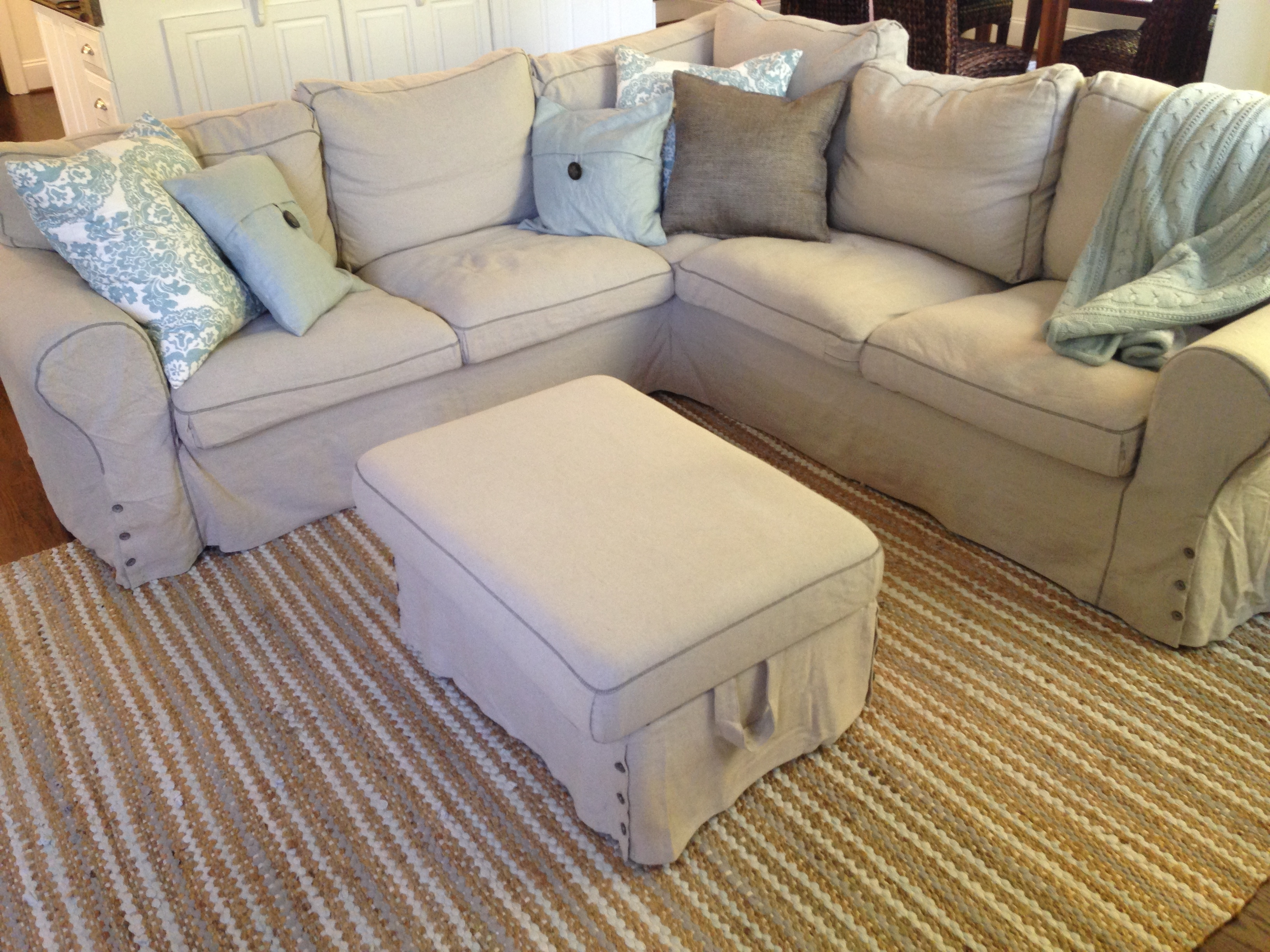 Ikea Ektorp Sectional In Risane Natural The Cover Is Removable Within 2018 Washable Sofas (View 11 of 15)