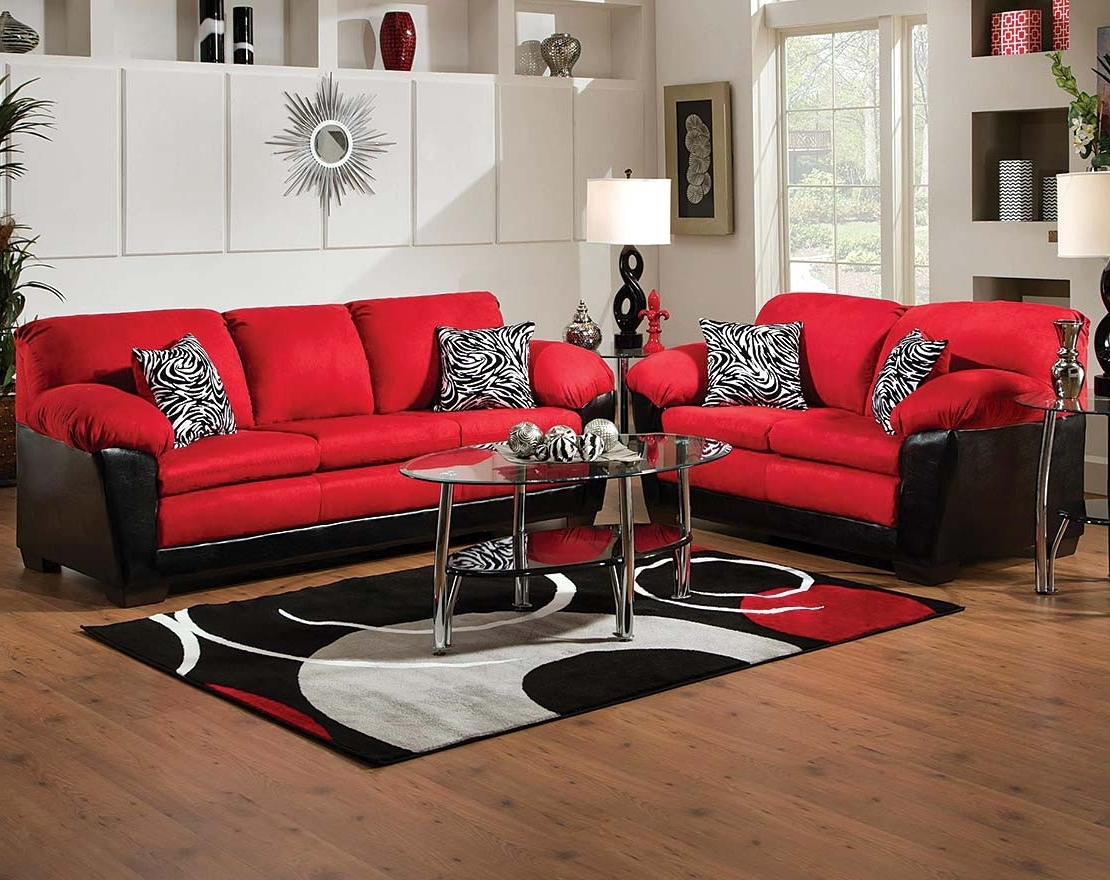 Implosion Red Sofa & Loveseat Regarding 2018 Red And Black Sofas (View 6 of 15)