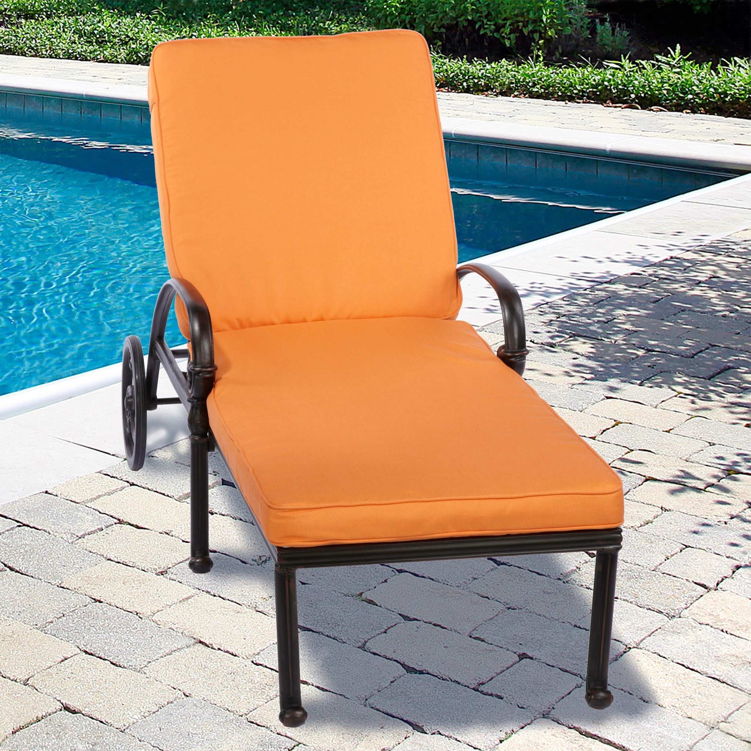 Indoor/ Outdoor 25 Inch Chaise Lounge Cushion With Stain Resistant Pertaining To Best And Newest Fabric Outdoor Chaise Lounge Chairs (View 10 of 15)
