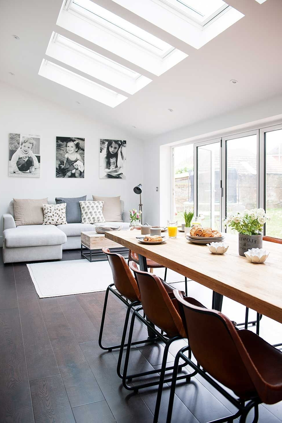 Industrial Kitchen Extension Dining Living Rooflights With Sofa In Most Up To Date Sofas For Kitchen Diner (View 2 of 15)
