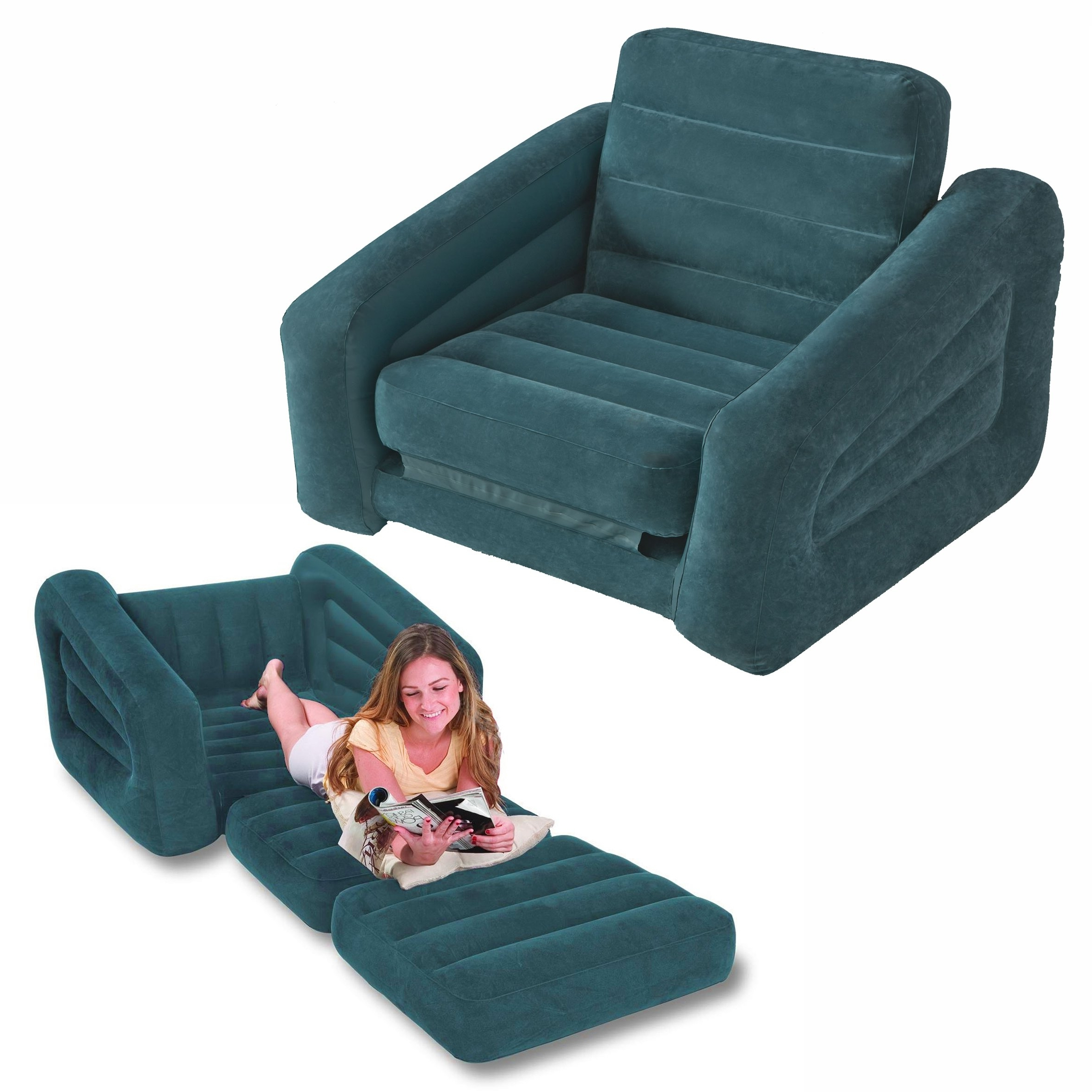 Intex One Person Inflatable Pull Out Chair Bed Sofa Bed #68565 Pertaining To Current Inflatable Sofas And Chairs (Gallery 4 of 15)