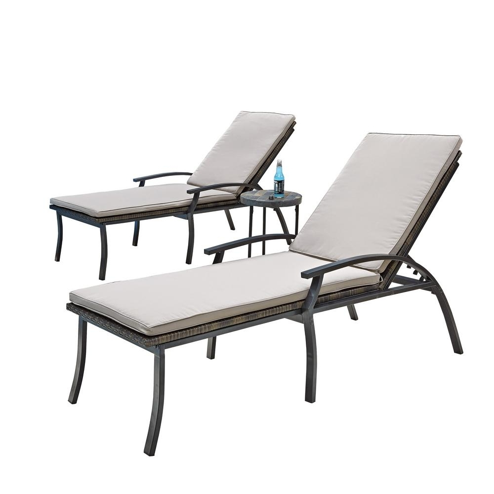 Iron Chaise Lounges For Trendy Home Styles Laguna Black Woven Vinyl And Metal Patio Chaise Lounge (Gallery 9 of 15)