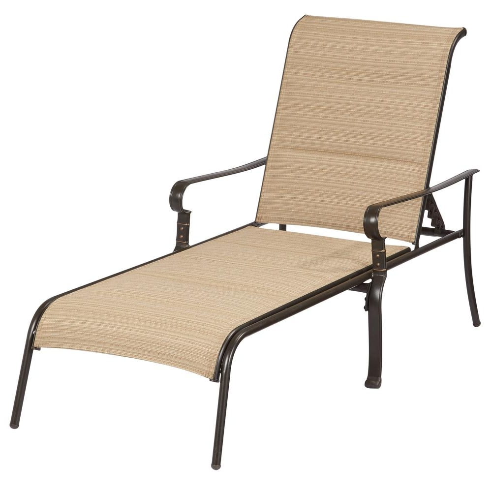 Iron Chaise Lounges Regarding Well Known Hampton Bay Belleville Padded Sling Outdoor Chaise Lounge (View 14 of 15)