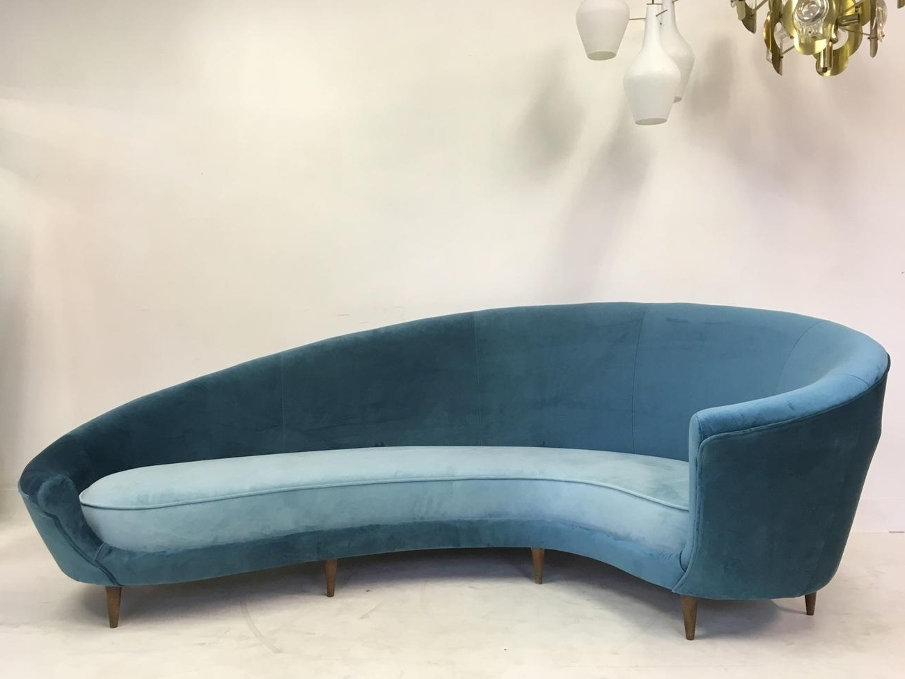 Italian Curved Velvet Sofa, 1950S For Sale At Pamono with Recent Velvet Sofas